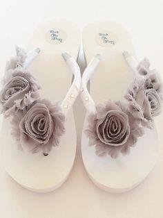 ccc4081410e858 WHITE Wedding Flip Flops Wedges Sandals For Bride.Bridal Flip White Flip  Flops