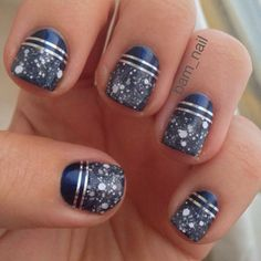 Navy Blue Nails - Just need some glitter top coat and striping tape!