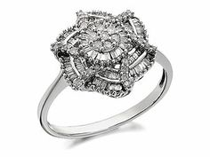 9ct White Gold Multi Tiered Diamond Cluster Ring  0.5ct - 047722 ...this is so unique!