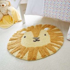 Circus Lion Yellow Rug | Dunelm