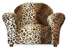 Kids Chair And Ottoman Set Leopard Print Girls Toddlers Furniture Wood Living Room