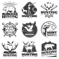 Real Hunt Labels Set by VectorPot Nine isolated vintage style monochrome labels with hunting symbols and decorative text captions on blank background vector illustr Vector Pattern, Pattern Art, Husky Logo, Adobe Illustrator, Hunter Logo, Blank Background, Truck Stickers, Hunting Art, Bar Logo