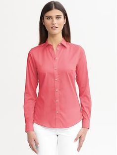 Non-iron fitted sateen shirt   Banana Republic  - this store is GREAT to work with.  watch for coupons or sales