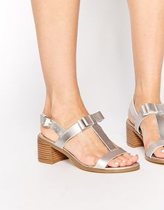 New Look Padstow Silver Mid Heeled Sandals