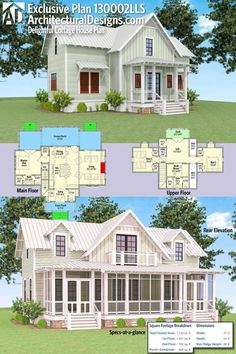 Architectural Designs Exclusive Delightful Cottage House Plan has large rear screened in porch with a deck off the loft above. and over square feet of heated living space. Where do YOU want to build? by maryanne Cottage House Plans, Dream House Plans, Small House Plans, Cottage Homes, House Floor Plans, Cottage House Designs, Porch House Plans, Lake House Plans, Cottage Style