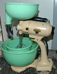 Vintage JADEITE Sunbeam MIXER w/ GRINDER Juicer 2 Bowls WORKS Mixmaster | eBay