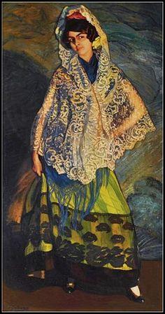 La Morenita con chal blanco - Pintura de Ignacio Zuloaga - 1913.