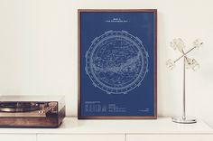 Silkscreen Print: Map II – The Southern Sky.. (Night-Blue)