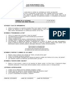 PLAN de MEJORAMIENTO Etica y Valores Bachillerato World, Eighth Grade, Adipose Tissue