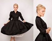 1950s Cocktail Dress / Black Dress / Couture Dress / Cocktail Party / Black Velvet Dress / Black Silk Dress / Mad Men 0492