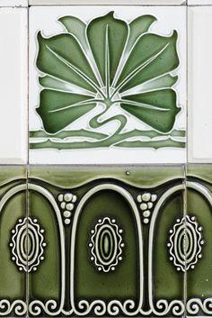 Majolica Tiles Rim, Art Nouveau Style.