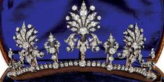 a gorgeous close up of a diamond floral tiara which multi-tasks as a necklace and ear pendants