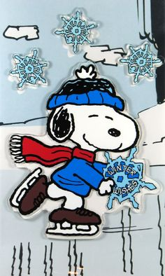 Snoopy skating with big snow flakes