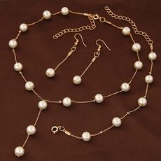 New Imitation Pearl Jewelry Necklace Sets Multilayer Simulated-pearl Necklace/Bracelet/Earrings Gold-plated Jewelry Sets