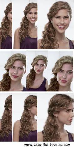 """Beautiful-boucles.com - Tutoriel queue de cheval basse sur le côté """"one shoulder"""" sur cheveux bouclés ou frisés"""