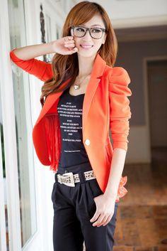 korean suits for women 2013 new blazer for women hot sale woman blazer 2013 super sexy summer & autumn black white red orange $45.99