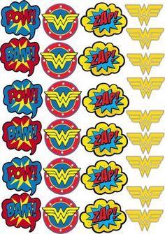Ideal Digital Art for Tags Topper Label Wonder Woman Cake, Wonder Woman Birthday, Wonder Woman Party, Birthday Woman, Superman Party, Superhero Birthday Party, 4th Birthday Parties, Anniversaire Wonder Woman, Super Heroine