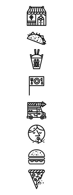 Signs and Symbols UOI: New York Mag Icons by Daniel Ting Chong, via Behance Typography Design, Branding Design, Logo Design, Symbol Design, Icon Design, Design Art, Typographie Fonts, Food Icons, Product Design