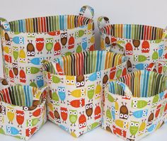 Inspiration-Super cute fabric! Fabric Storage Organizer Container Basket Bin - Birds in Spring. $18.00, via Etsy.
