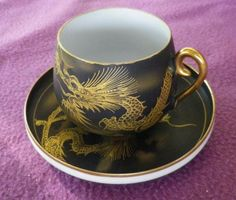 spectacular dinnerware | SPECTACULAR! VINTAGE BLACK&GOLD SOKO CHINA EGG SHELL SATSUMA COFFEE ...