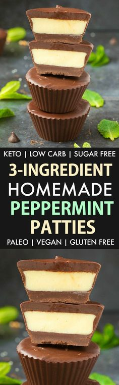 Homemade Peppermint Patties (Keto, Sugar Free, Low Carb, Paleo, Vegan)- An easy copycat recipe for Peppermint Patties with a healthy and dairy free makeover- A delicate chocolate shell with a creamy mint center! Keto Friendly Desserts, Low Carb Desserts, Easy Desserts, Low Carb Recipes, Dessert Recipes, Diabetic Desserts, Diabetic Foods, Baking Desserts, Keto Foods