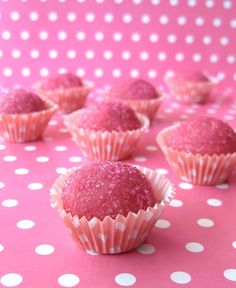 "Sparkly pink strawberry fudge balls (actually, ""the most popular Brazilian candy of all times: Brigadeiros""). Super easy to make and perfect for Valentine's Day!"
