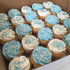 Blue and white baby shower cupcake