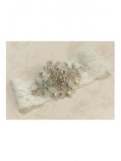 Vintage Ivory Lace Garter with Jewel from bywishes.co.uk