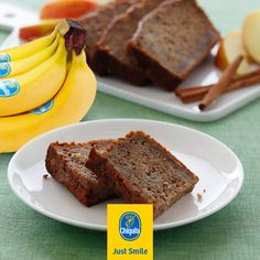 Our moist Chiquita banana loaf recipe substitutes fats like oil, shortening and butter with a healthier alternative: applesauce! And it adds moisture to the batter that gives you a tastier end result. Give it a try and let us know what you think Vegan Peanut Butter, Banana Bread Recipes, Cake Tins, Just Smile, Vegan Vegetarian, Baking Soda, Desserts, Food, Meal