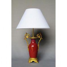 Lampe En Porcelaine Sang De Bœuf, XIXe Siècle.