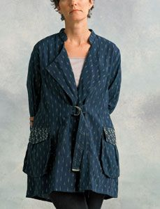 Koshi Jacket - Soft Navy, Natural ikat ---- Look at the details...  then use what you learn to design you own clothing.