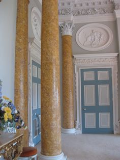 The fake marble pillars at Stoneleigh Abbey