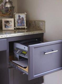 Office corner in indoor kitchen