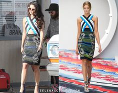 Selena Gomez was photographed on set of an unknown video shoot earlier today in Los Angeles and WORKED in this Peter Pilotto Spring 2013 RTW dress.  She's also wearing her Free People Sunglasses  We have to say, we have no idea what this is for but we're very excited!