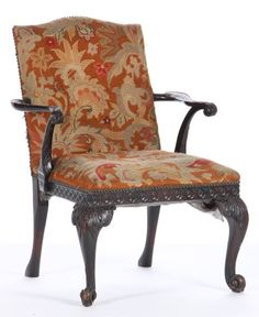 Lot # : 341 - Antique Chippendale Style Open Arm Chair