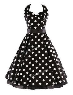 RETRO 1940S 50'S VINTAGE POLKA DOT PINUP ROCKABILLY SWING PROM SWING DRESS GOWN