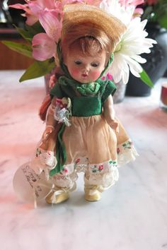 Antique Vogue Ginny Doll gorgeous in tagged outfit and original painted lash nr #Dolls