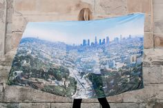Trendy LA/Los Angeles City Digital Printed Blue by LoveLA2013, £20.00