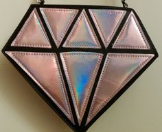 Beautiful Diamond Cross Body Bag Pink Hues on One Side White on The Other | eBay