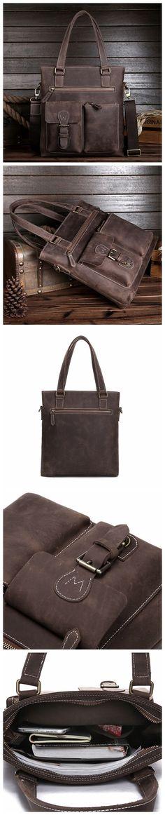 ROCKCOW Handmade Genuine Leather Messenger Bag, Crossbody Shoulder Bag, Men Handbag 80023