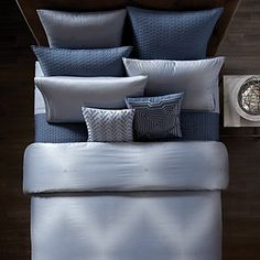 Modern and graphic, this exclusive-to-Bloomingdale's bedding collection features a geometric optical print in blue and white. A quilted coverlet, shams and decorative pillows tie in with complimentary geometric patterns and embroidery. Bedroom Comforter Sets, Duvet Bedding, Euro Pillow Shams, Bed Pillows, Cushions, Luxury Bedspreads, 100 Cotton Duvet Covers, Bedroom Styles, Bedrooms