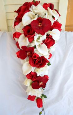 Red orchids silk cascade bouquet with ivory by VictoriaSilkDesigns