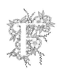 Letter F print Alphabet Calligraphy Typography Monogram