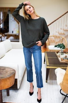 emerson fry A relaxed, go-to, year-round sweater in a boxy silhouette. Creates an easy, balanced shape on the body and pairs well with any bottom. Drop panel detail in back provides a bit Black Silk Blouse, Distressed Black Jeans, Mod Dress, Collar Top, Black Leather Heels, Sweater Outfits, Chunky Sweater Outfit, Casual Outfits, Mandarin Collar