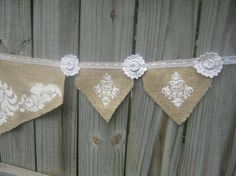 burlap and lace banner
