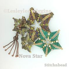 Beading pattern / tutorial. Beaded star. using miyuki delica beads This is a little gem of a lovely beaded open star. It features Swarovski crystaletts This tutorial / pattern has 23 pages with illustrated easy to follow picture's, Which will take you, in easy steps from starting the
