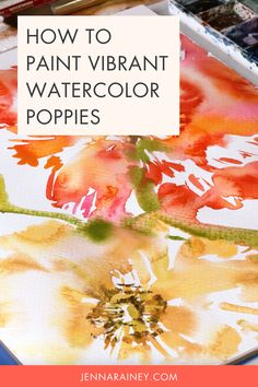 How to paint watercolor poppies that are vibrant and bright. Join me in painting a big, vibrant, juicy Icelandic poppy flower! This flower is probably one of my favorites because of the bold colors and interesting textures. We'll capture its essence with lots of wet-on-wet with explosions of color. Watercolor Flowers Tutorial, Step By Step Watercolor, Watercolor Poppies, Easy Watercolor, Watercolour Tutorials, Watercolor Design, Watercolor Techniques, Painting Tutorials, Icelandic Poppies