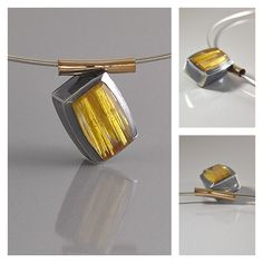 Sterling silver, 14k gold and Rutilated Quartz pendant