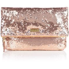 Halston Heritage rose gold clutch