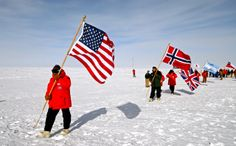 Flags from around the world at the South Pole in Antarctica